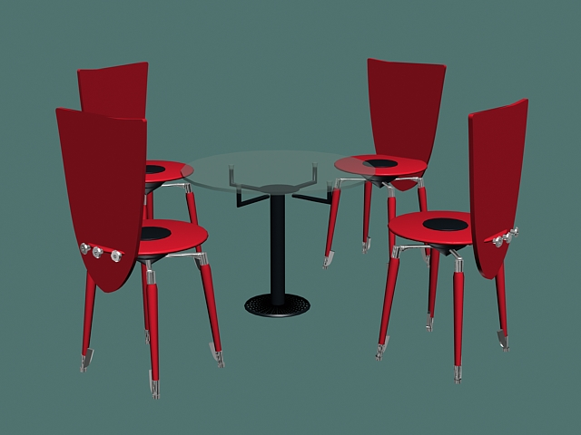 Round Glass Meeting Table And Chairs D Model DsMaxds Files Free - Small glass conference table