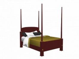 Vintage four poster bed 3d model