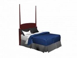 Vintage wood bed 3d model