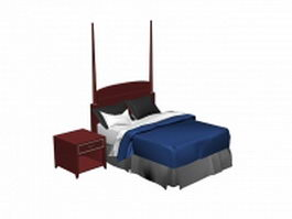 Retro bed and nightstand 3d model