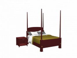 Four poster bed and nightstand 3d model