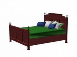 Vintage antique wood bed 3d model