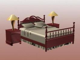 Vintage woodcraft bed sets 3d model