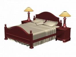 Classic wood bed sets 3d model