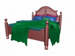 Antique traditional wood bed 3d model