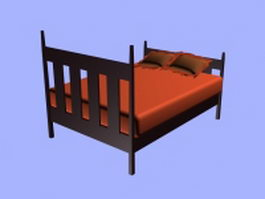 Kids room wooden bed 3d model