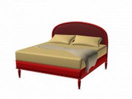 Modern double platform bed 3d model