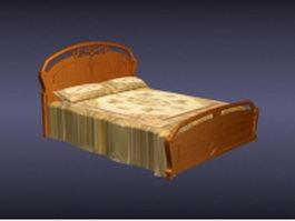 Wooden carved bed 3d model