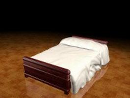 Dark wood bed 3d model
