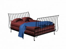 Vintage wrought iron bed 3d model