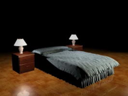 Black soft bed with nightstands 3d model
