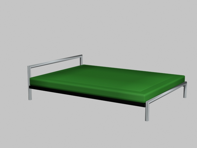 modern simple bed 3d model - Modern Metal Bed Frame