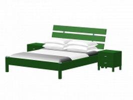 Rustic platform bed with nightstands 3d model