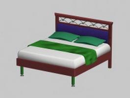 Retro double bed 3d model