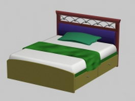 Double bed with drawers 3d model
