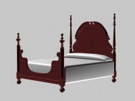 Indian four poster bed 3d model