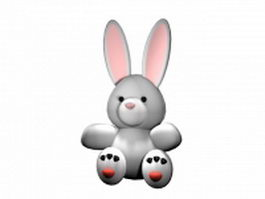 Cartoon white rabbit 3d model