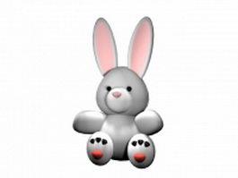 Cartoon white rabbit 3d model