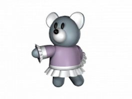 Cartoon bear with clothes 3d model