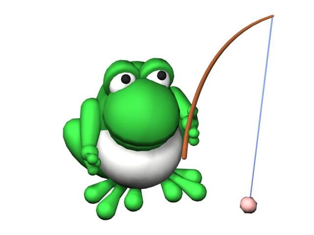 Cartoon frog fishing 3d rendering