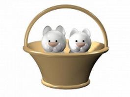 Cartoon cats in a basket 3d model