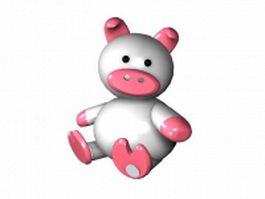 Cartoon white pig 3d model