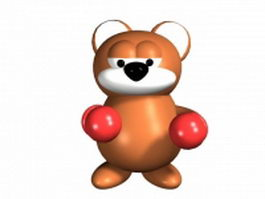 Cartoon boxing cat 3d model
