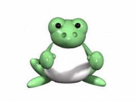 Cartoon frog with boxing gloves 3d model