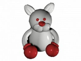 Boxing cartoon rabbit 3d model