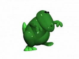 Green lizard cartoon character 3d model