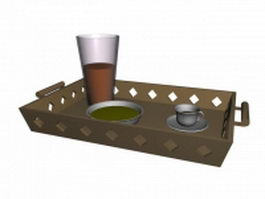 Cutlery tray with dinnerware sets 3d model