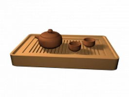 Bamboo tea tray and tea set 3d model