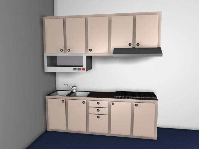 Small Modern Kitchen Design 3d Model