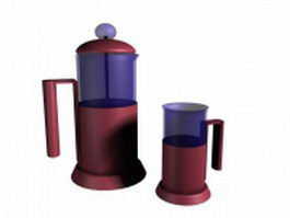 Coffeepot and cup 3d model