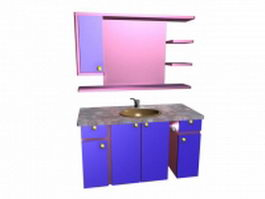 Bathroom vanity with wall cabinet 3d model
