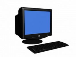 Dell CRT monitor and keyboard 3d model