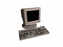 Old monitor and keyboard 3d model