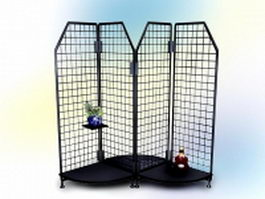 Office metal mesh desktop shelf 3d model