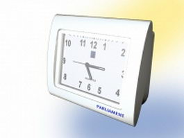 White alarm clock 3d model