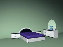 White bedroom furniture sets 3d model