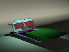 Day bed with headboard 3d model