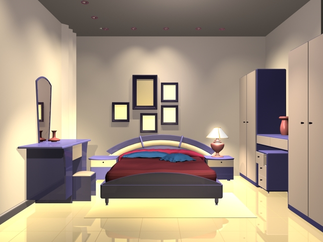Modern bedroom design 3d model 3dsmax files free download for Room modeling software