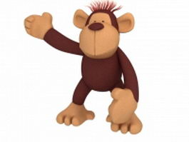 Funny cartoon orangutan 3d model