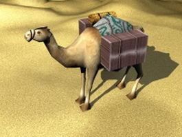 Camel and goods across the desert 3d model