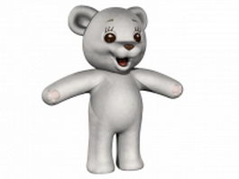 White teddy bear 3d model