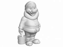 Cartoon dwarf statue 3d model