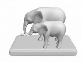 White elephants statue 3d model