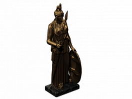 Bronze Athena statue 3d model