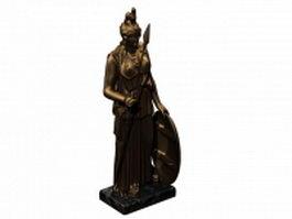 Bronze Athena statue 3d model