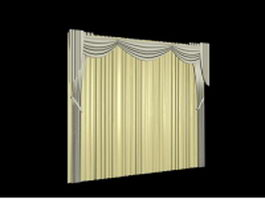 Beige curtain valance with traversing panels 3d model